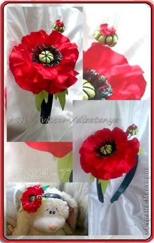 комплект мини-шляпка канзаши, повязка на ленте и кольцо фото 5