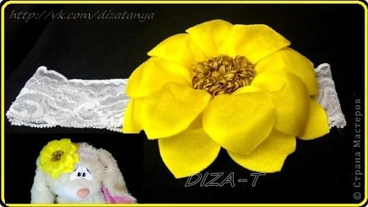 комплект мини-шляпка канзаши, повязка на ленте и кольцо фото 8