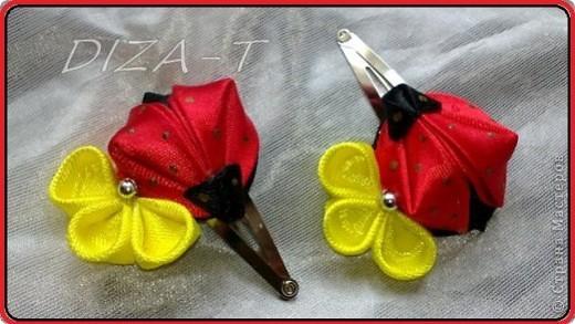 комплект мини-шляпка канзаши, повязка на ленте и кольцо фото 10