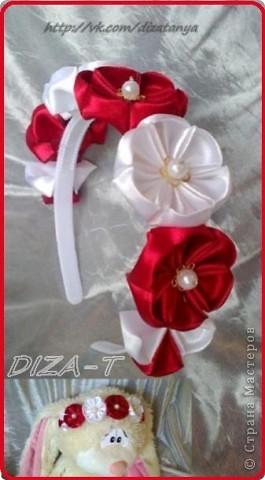 комплект мини-шляпка канзаши, повязка на ленте и кольцо фото 9