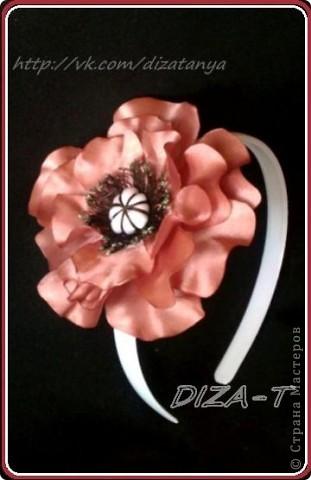 комплект мини-шляпка канзаши, повязка на ленте и кольцо фото 12