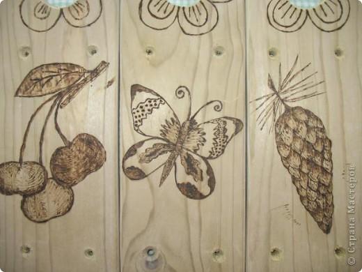 Муж выпилил колышки, я решила украсить.  Рисунки решила сделать разными. Итак: вишенки, бабочка, шишка... фото 1