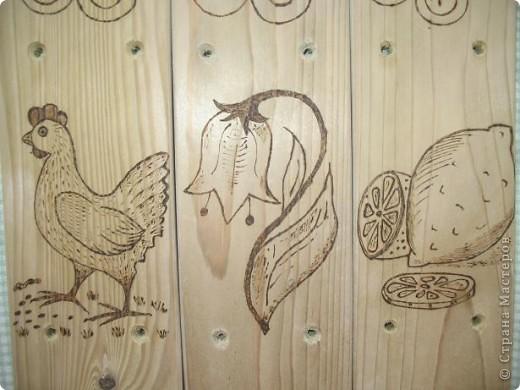 Муж выпилил колышки, я решила украсить.  Рисунки решила сделать разными. Итак: вишенки, бабочка, шишка... фото 4