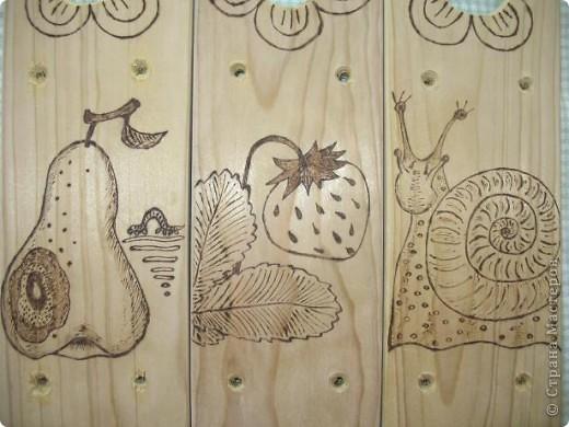 Муж выпилил колышки, я решила украсить.  Рисунки решила сделать разными. Итак: вишенки, бабочка, шишка... фото 5