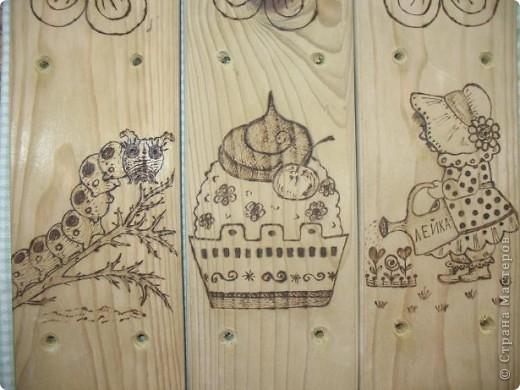 Муж выпилил колышки, я решила украсить.  Рисунки решила сделать разными. Итак: вишенки, бабочка, шишка... фото 6