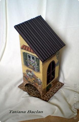 Вот такой у меня домик получился. Окна в домике заштукатурила, а то их было слишком много...  Стены - фактурная штукатурка, тротуар - яичная плитка, кровля - мягкая черепица...)) фото 2