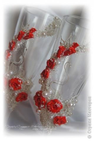 """Свадебные бокалы """"Красные розы"""" фото 4"""