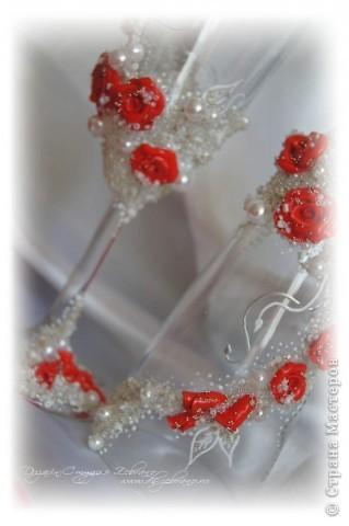 """Свадебные бокалы """"Красные розы"""" фото 7"""