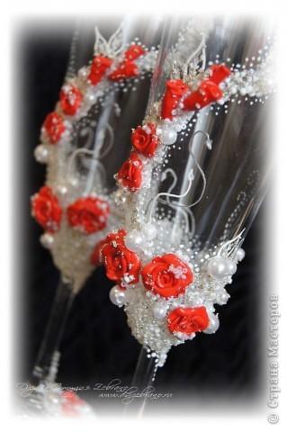 """Свадебные бокалы """"Красные розы"""" фото 2"""