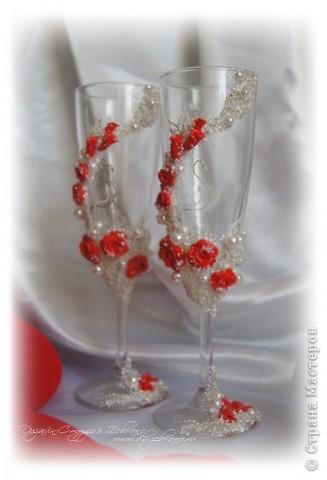 """Свадебные бокалы """"Красные розы"""" фото 3"""