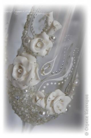 """Свадебные бокалы """"Белая роза"""" фото 5"""
