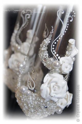 """Свадебные бокалы """"Белая роза"""" фото 2"""