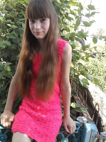Добрый день! Связала я себе вот такое розовое платье:)  фото 1