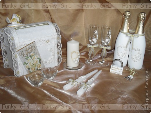 Мой первый свадебный набор, делала для сестры :) Косяков, конечно, много, но жених и невеста остались довольны. фото 1