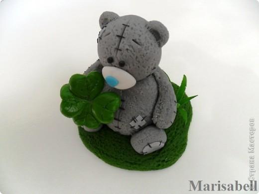Здравствуйте! Вот такого Тедди слепила на заказ, как подарок на День рождения для милой молодой девушки - коллекционера Мишек Тедди. Счастливый мишка нашел на полянке четырехлистный клевер - такой вот талисманчик удачи :) фото 4