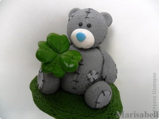 Здравствуйте! Вот такого Тедди слепила на заказ, как подарок на День рождения для милой молодой девушки - коллекционера Мишек Тедди. Счастливый мишка нашел на полянке четырехлистный клевер - такой вот талисманчик удачи :) фото 6
