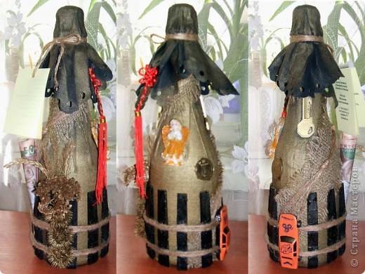 Декор предметов День рождения Свадьба Аппликация Декор бутылок Бисер Клей Нитки Ткань фото 5.