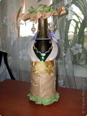 Декор предметов День рождения Свадьба Аппликация Декор бутылок Бисер Клей Нитки Ткань фото 14.