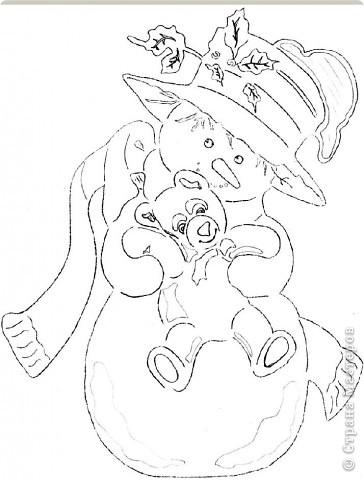 Картина панно рисунок Новый год Вырезание Снеговик с мишкой Бумага фото 3.