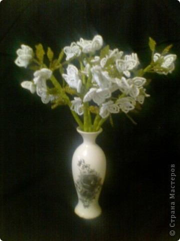 Поделка изделие Бисероплетение Ваза с цветами Бисер Проволока фото 1.