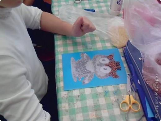 На уроке технологии решили с ребятами поработать с семенами и крупой.Нашли красивый шаблон совёнка(спасибо Наталье Писаревой за шаблон) и вот что у нас получилось. Это работа Кузьминой Дашеньки. фото 6