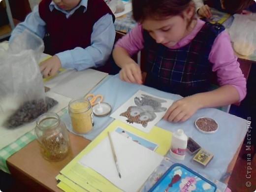 На уроке технологии решили с ребятами поработать с семенами и крупой.Нашли красивый шаблон совёнка(спасибо Наталье Писаревой за шаблон) и вот что у нас получилось. Это работа Кузьминой Дашеньки. фото 5