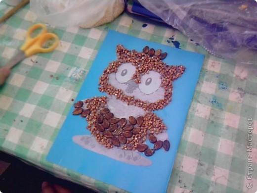 На уроке технологии решили с ребятами поработать с семенами и крупой.Нашли красивый шаблон совёнка(спасибо Наталье Писаревой за шаблон) и вот что у нас получилось. Это работа Кузьминой Дашеньки. фото 8