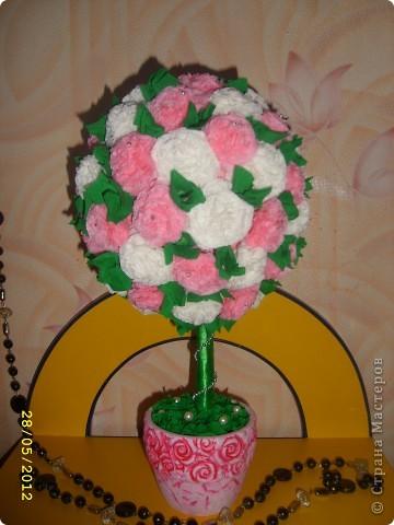 Очень долго вынашивала идею сделать красивое розовое деревце. И вот, оно, случились.  Оно такое красивое получилось!!  Подарили учительнице в музыкальной школе фото 1