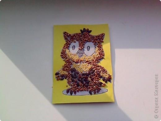 На уроке технологии решили с ребятами поработать с семенами и крупой.Нашли красивый шаблон совёнка(спасибо Наталье Писаревой за шаблон) и вот что у нас получилось. Это работа Кузьминой Дашеньки. фото 11