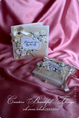 Подарочный наборчик на свадьбу - открытка и коробочка для денежного подарка фото 4