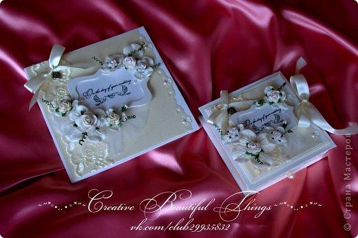 Подарочный наборчик на свадьбу - открытка и коробочка для денежного подарка фото 1