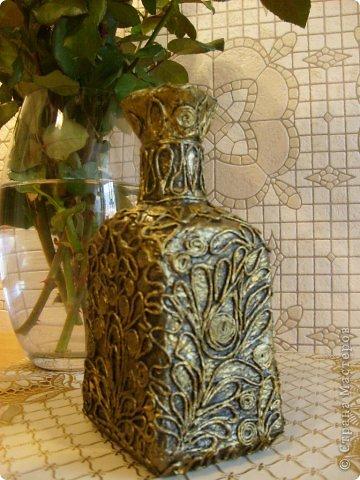 Бутылка в технике Пейп-Арт(автор Сорокина Татьяна) Проба пера. Спасибо Татьяне!