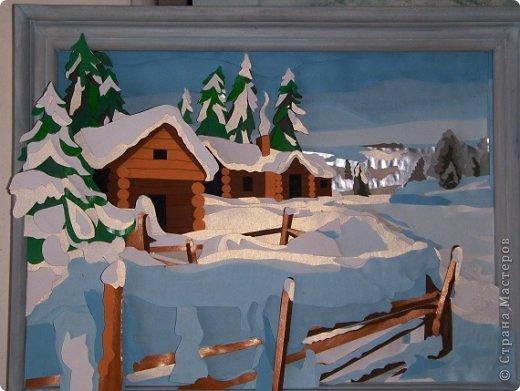 Зимний пейзаж. Размер работы 32х43 см. фото 7