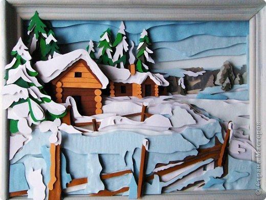 Зимний пейзаж. Размер работы 32х43 см. фото 1