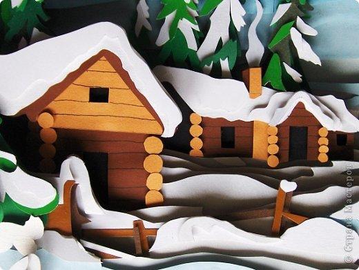 Зимний пейзаж. Размер работы 32х43 см. фото 5