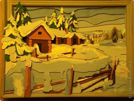 Зимний пейзаж. Размер работы 32х43 см. фото 8