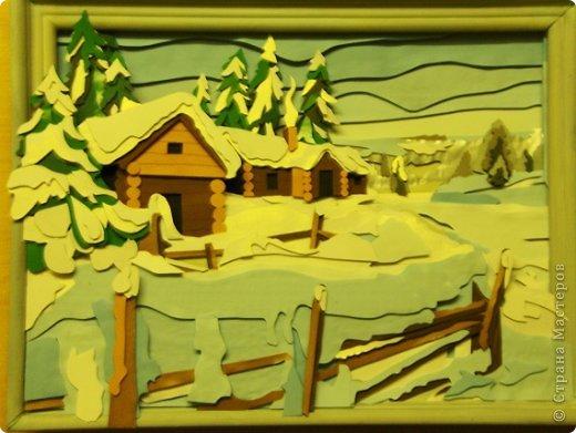 Зимний пейзаж. Размер работы 32х43 см. фото 9