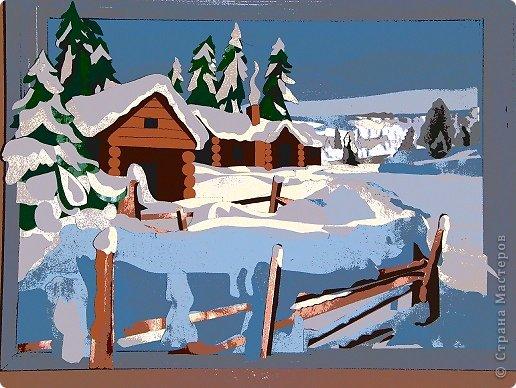 Зимний пейзаж. Размер работы 32х43 см. фото 10
