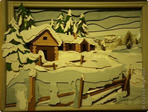 Зимний пейзаж. Размер работы 32х43 см. фото 11
