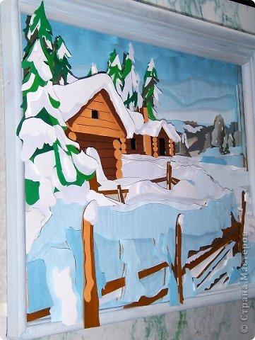 Зимний пейзаж. Размер работы 32х43 см. фото 2