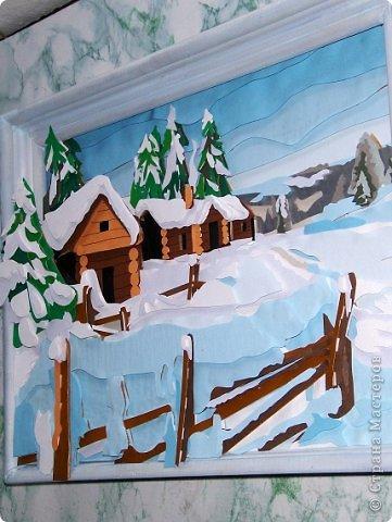 Зимний пейзаж. Размер работы 32х43 см. фото 3