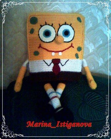 Игрушка Вязание крючком Губка Боб Поролон Пряжа фото 2.