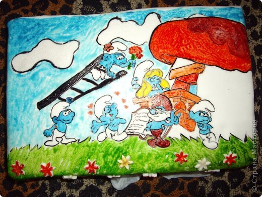 """""""Букет роз"""" Торт был испечен по случаю 8-го марта))на работу мужу в подарок его коллегам))) Рецепт торта (называется """"Молочная девочка"""") можно посмотреть здесь http://stranamasterov.ru/node/155720))  Все цветы из мастики, надпись делана пищевыми фломастерами. Строго не судите подмигиваю это второй торт с использованием мастики)) я еще тока учусь)))смущаюсь буду рада если рецепт или идея украшения вам пригодится  фото 5"""