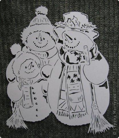 Вырезание - Семья снеговиков.