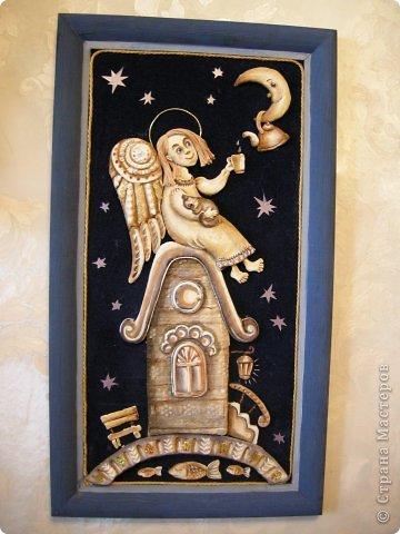 Птица Сирин.  Солёное тесто, гуашь, золото(акрил),ткань, оргалит, клей. фото 7
