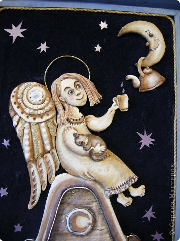 Птица Сирин.  Солёное тесто, гуашь, золото(акрил),ткань, оргалит, клей. фото 8