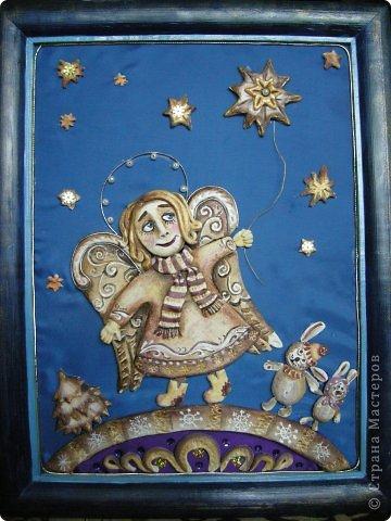Птица Сирин.  Солёное тесто, гуашь, золото(акрил),ткань, оргалит, клей. фото 9