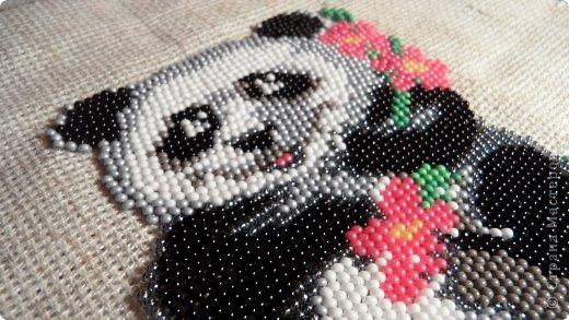 Поделка изделие Бисероплетение Вышитая панда Бисер фото 2.