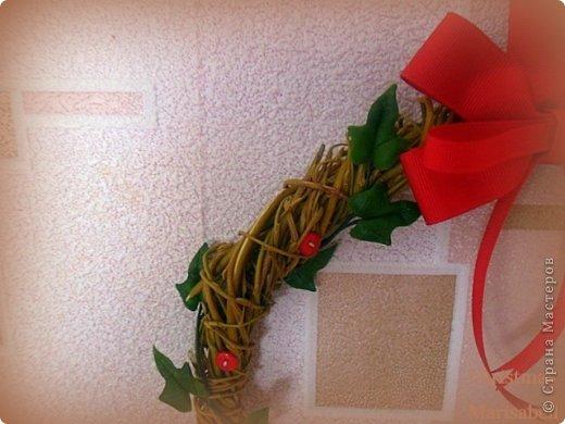 Здравствуйте! Хочу показать Вам рождественский венок, который у меня получился в этом году. Думаю, он будет один - больше не успею, к сожалению. Сам венок сплела из ивовой лозы. Украшают его пуансетия, плетущийся плющ и декоративные красные пуговички. фото 4
