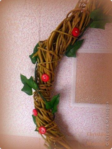 Здравствуйте! Хочу показать Вам рождественский венок, который у меня получился в этом году. Думаю, он будет один - больше не успею, к сожалению. Сам венок сплела из ивовой лозы. Украшают его пуансетия, плетущийся плющ и декоративные красные пуговички. фото 5